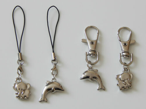 ELEPHANT OF DOLPHIN CHARM ON SWIVEL LOBSTER OR LANYARD CLIP ON MOBILE PHONE