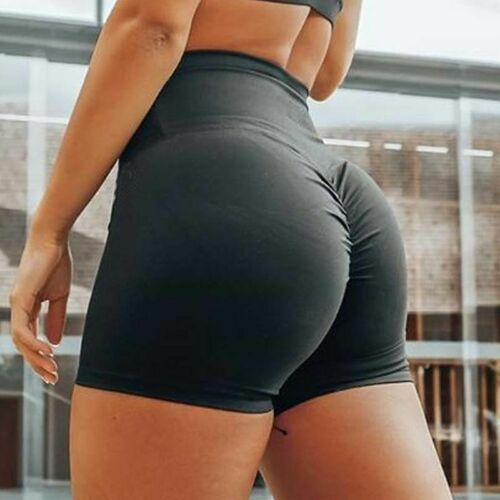 Women High Waist Yoga Shorts Ruched Push Up Sports Hot Pants Casual Gym Workout