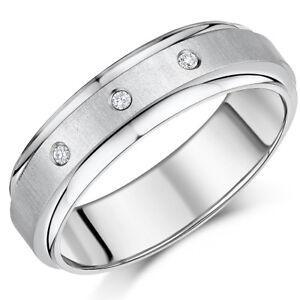 Titanium Diamond Ring Flat Court Engagement Wedding Band 5mm 7mm