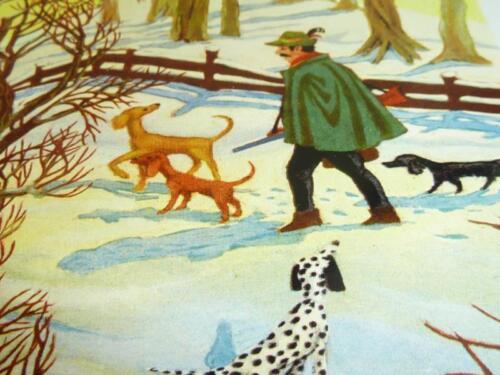 "vintage greeting cards  ARS SACRA  /""Keussen /""hunter in the winter forest /""0020/"""