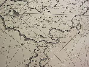 Vintage 1753 Facsímil Costa Tabla / Mapa ~ Maine Isla De Shetland Brassey