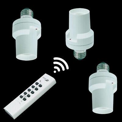 Fernbedienung 3 x Funk Lampenfassung Fassung Fitting für alle Leuchtmittel E27