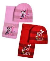 Girls Minnie Mouse Hat And Scarf New Kids Disney Winter Sets Ages 3 - 12 Years