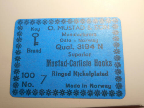 100 Mustad #7 fly tying hooks Carlisle annelé Nickelplated Offset 3193 N