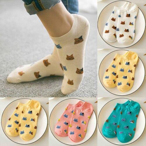 4 Paar Damen 3D Katz Muster Sneaker Socken Füßlinge Sport Baumwolle Strümpf D3H2