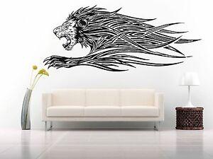 Details about Wall Room Decor Art Vinyl Sticker Mural Decal Tribal Tattoo  Lion Predator FI507