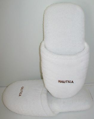 BRAND NEW~Unisex Terrycloth SLIPPERS~White~NAUTICA~Size Sm-Med~Perfect 4 Guests!