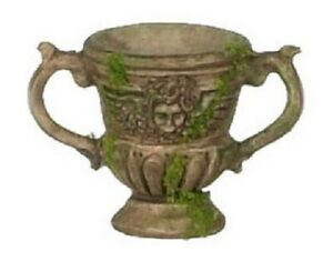 Dollhouse-Miniature-Urn-with-Handles-Brown-with-Face-and-Moss-3pc-1-12-Scale