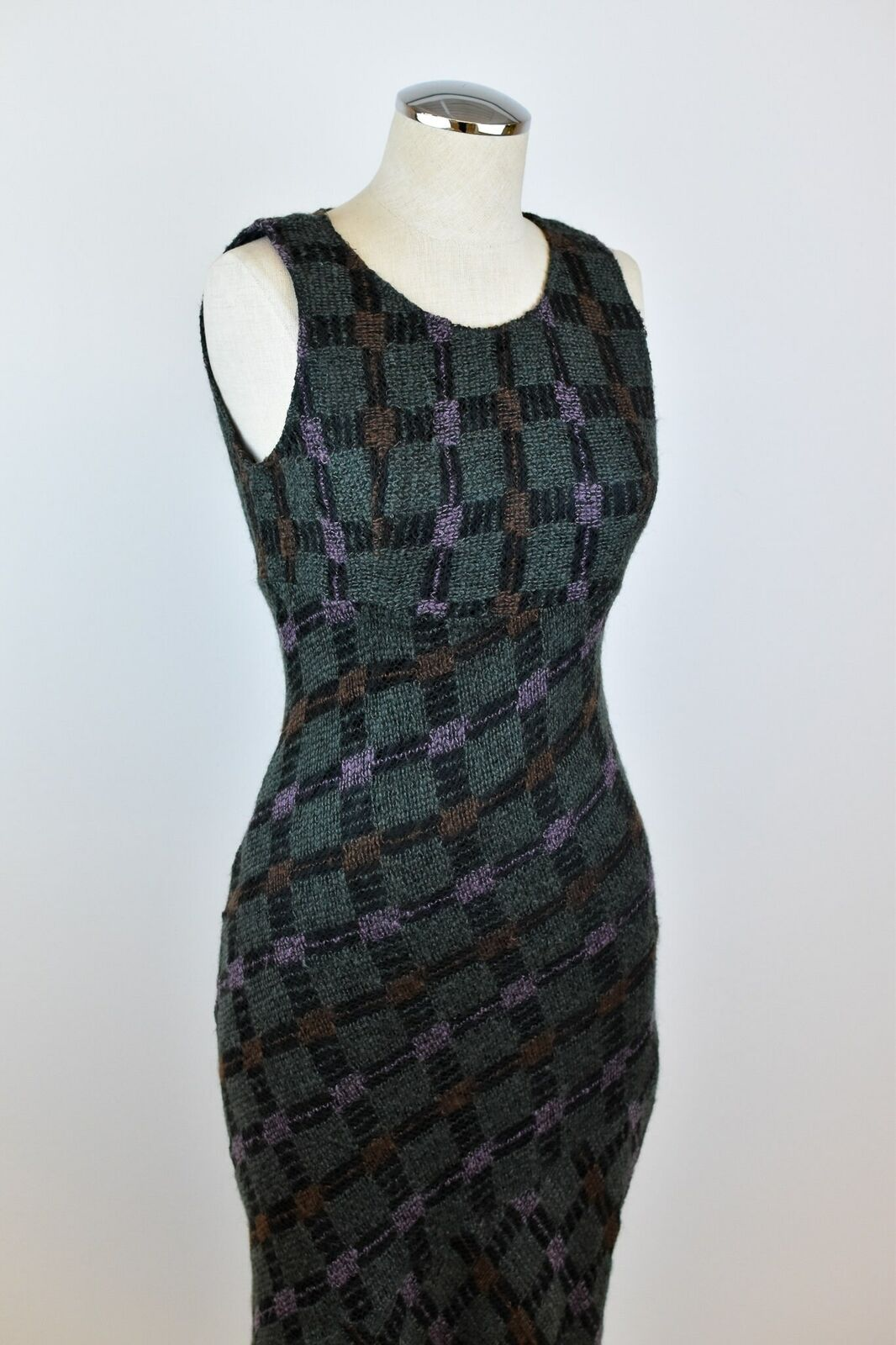 1990's Vintage Anna Sui Checkered Mohair Dress - image 5