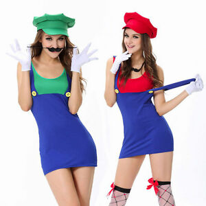 Image is loading Womens-Adult-Mario-and-Luigi-Costumes-Super-Plumber-  sc 1 st  eBay & Womens Adult Mario and Luigi Costumes Super Plumber Bros Halloween ...