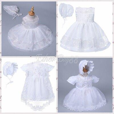 Spirited Infant Baby Girl Wedding Baptism Christening Easter Gown Flower Dress + Bonnet
