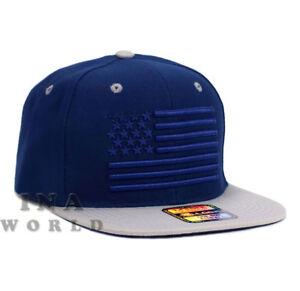 BLACK AMERICAN FLAG USA STARS STRIPES SNAPBACK FLAT BILL BASEBALL CAP HAT