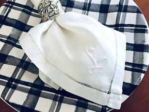 Vintage-Monogram-034-L-034-White-Cotton-Linen-Napkins-Set-of-6-Dinner-Napkins-15-034-x15-034