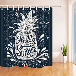 Image Is Loading Creative Pineapple Bathroom Polyester Shower Curtain Bath Mat