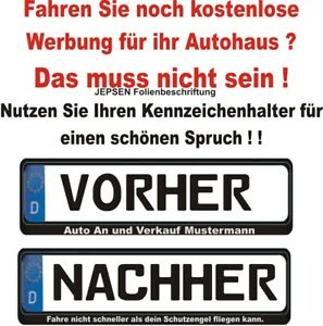 Kennzeichen-Aufkleber-Set-1x-Wunschtext-1-Abdeckstreifen-fuer-Kennzeichenhalter