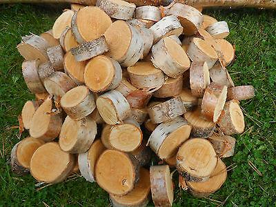 "Romantisch 75 Silver Birch Bark Wood Log Slices. Decorative Display Logs. 2 - 3 "" Diameter"