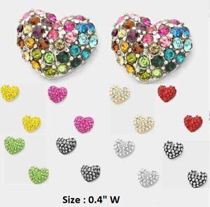 0-4-034-Small-Mini-Rhinestone-Crystal-Heart-Pierced-Stud-Earrings-Love-Wedding-Prom