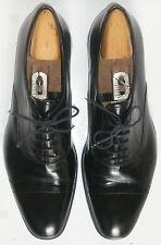 Men's PRADA 'SPAZZOLATO' Black Leather CAP TOE OXFORD DRESS SHOES-9 (10/10.5 US)