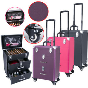 Large 34 Layers Beauty Nail Art Storage Kit Trolley Case Vanity