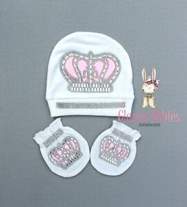Pink crystal crown NEW Newborn Baby Infant Girl WHITE Hat Mittens and Bib set