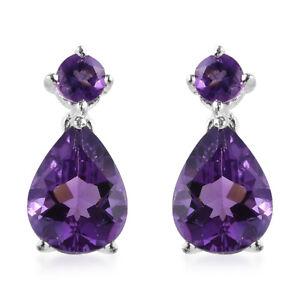 925 Silver Pear Purple Amethyst Drop Dangle Earrings Women Jewelry For Gift
