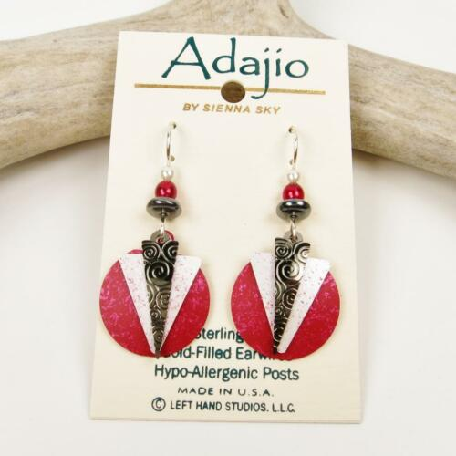 Details about  /Adajio Earrings Hematite and White Triangles Over Red Disc Handmade in USA 7658