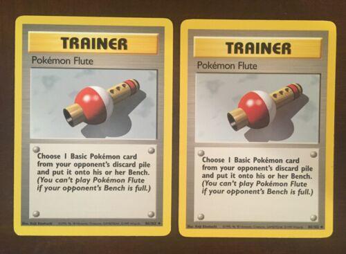 Pokemon Flute Original Base Set 2x Pokemon Cards 86//102 Uncommon 1999