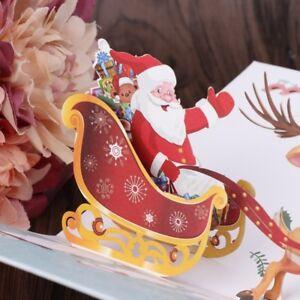 Joyeux Noel Et Nouvel An.Details Sur Fait Main 3d Pop Up Joyeux Noel Vacances Carte De Voeux Noel Cadeau De Nouvel An