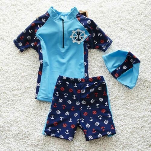 Swimming Costume Boys Swimwear 2//pcs Swim Suits For Beach Clothing Cap Children