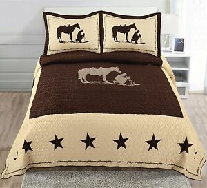 Texas-Praying-Cowboy-Horse-Star-Western-Quilt-Bedspread-Comforter-Shams-3-Pc-Set
