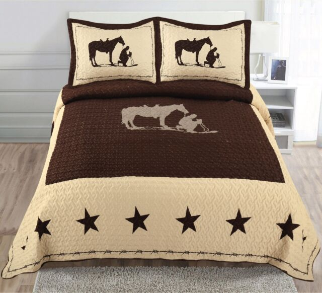 Texas Rustic Rider Rodeo Horse Shoe Star Western Quilt Bedspread Comforter 3 Pc