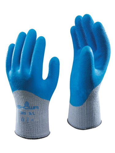 10 x SHOWA 305 XTRA Grip Safety Gardening Latex Coated Gloves All SIze 7//S-10//XL