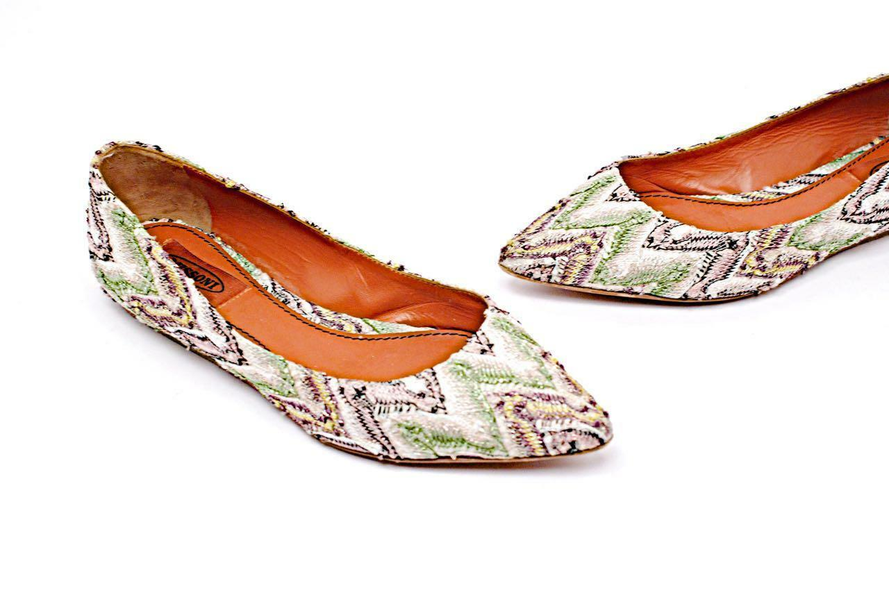 MISSONI Multi Color Embroidered Flats w/Hint of Metallic - 37/US7 - Retail  475