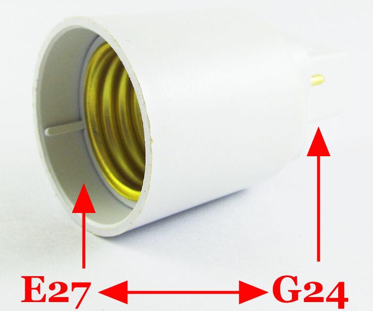 50 un. G24 Macho a Hembra E27 LED de luz Halógena CFL base de Zócalo Bombilla Lámpara Adaptador