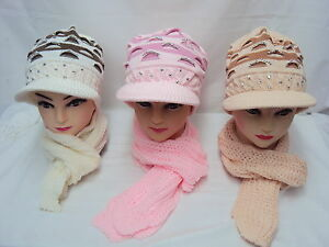 fd487cdba74 Image is loading Fashion-Ladies-Winter-Knitted-hat-And-Scarf-set-