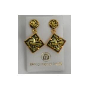 Damascene-Gold-Square-Bird-Drop-Earrings-by-Midas-of-Toledo-Spain-Style-3144Bird
