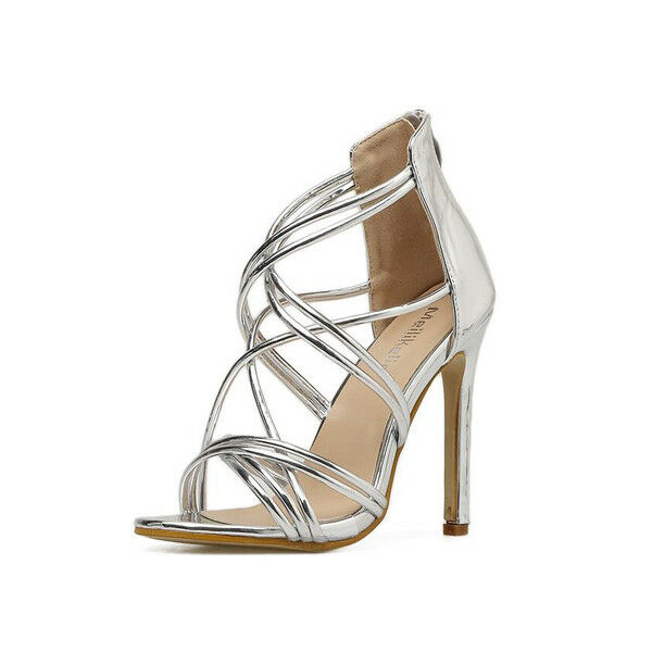 Sandali stiletto eleganti tacco   12 cm silver lucido  simil pelle eleganti 1019