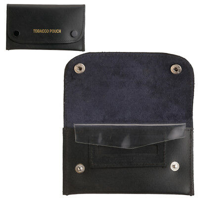 Real Hard Leather Dual Popper Keep Tobacco Fresh Paper Pouch Holder Case Black