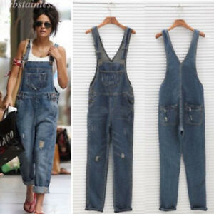 Womens Baggy One Piece Jumpsuits Overalls Denim Jeans Bib Trousers