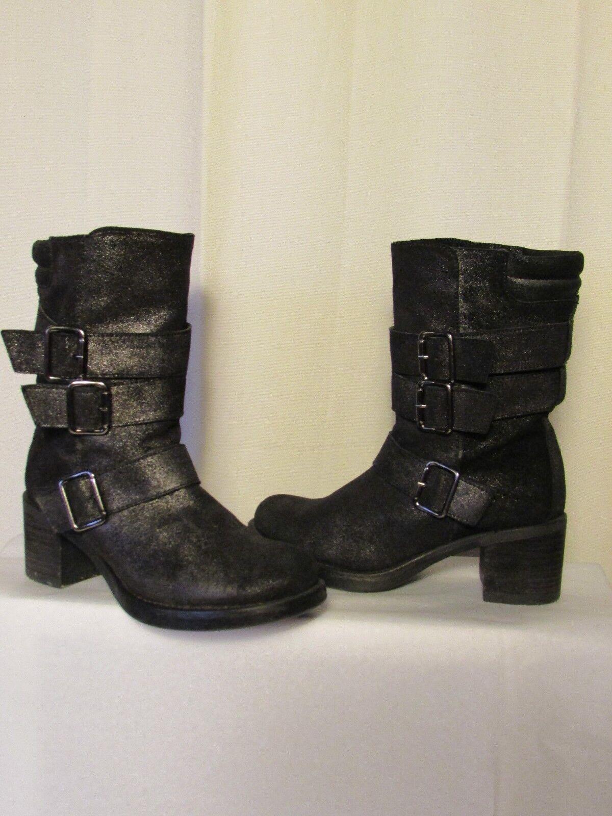 stivali/stivali UNISA crosta nero in pelle nero crosta metallizzato 36 9dfb48