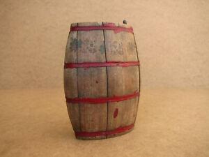 Old-Antique-Primitive-Wooden-Wood-Barrel-Keg-Vessel-Canteen-Pail-Rustic-Ranch
