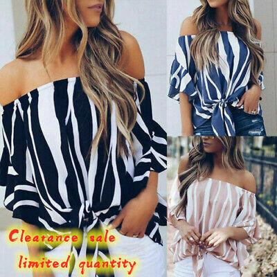 Womens Bardot Off Shoulder Tops Ladies Summer Casual Loose T Shirt Blouse 6-16