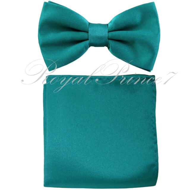 079b00af57da New TEAL Green Blue Men's Bow tie & Pocket Square Hankie wedding Party Prom
