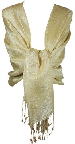 Gold Women/'s Paisley Glitter Shimmery Tonal Scarf Shawl Wrap Pashmina /_PSK