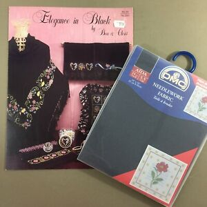 DMC Black Aida Counted Cross Stitch Fabric with Bonus Chart Elegance In Black