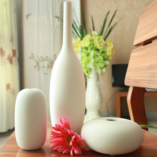 3pcs European Decorative Ceramic White Art Vase Set Porcelain Flower Vase Pot