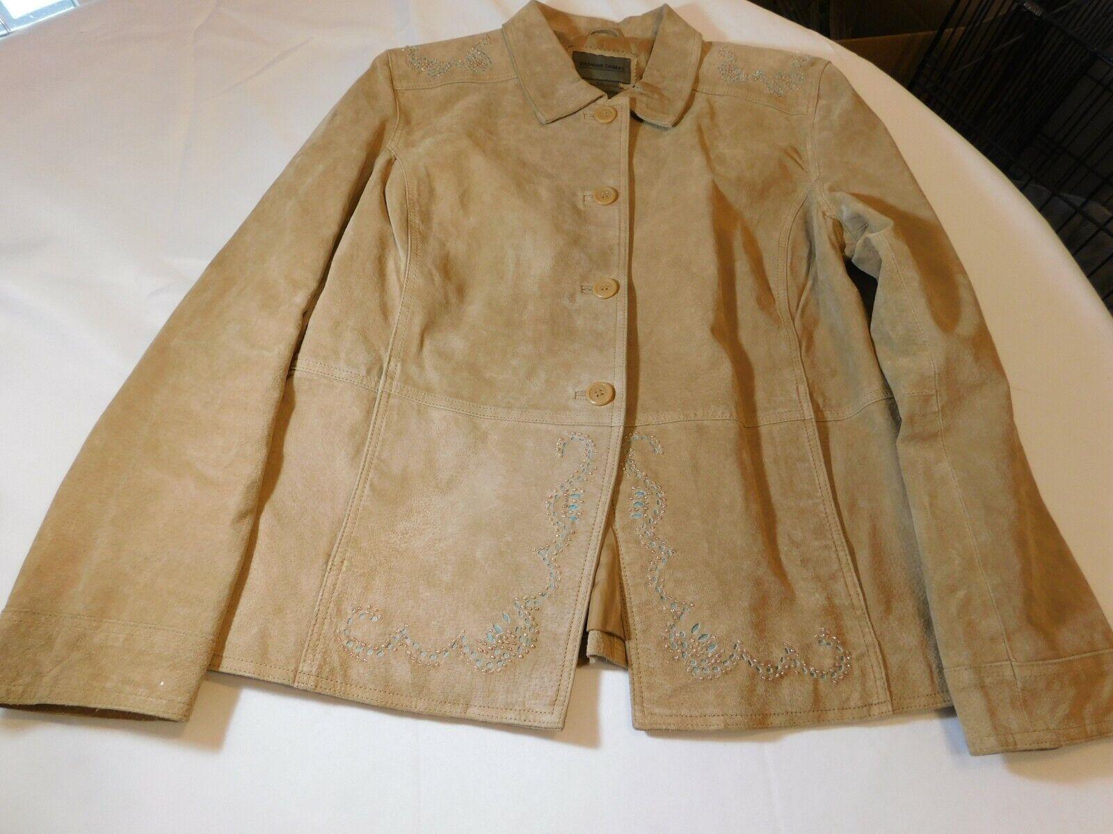 Brandon Thomas Women's Suede/Leather Jacket Long Sleeve Button Up Tan L **Spots