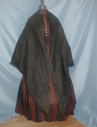 Antique Dress Cape Victorian 1860's Black Quilted
