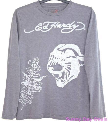 Ed Hardy Mens T-Shirt Cotton Tiger Long Sleeve Gray Tee Christian Audigier S