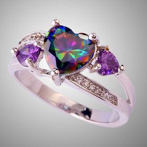 Rainbow-amp-White-Topaz-Amethyst-Gemstone-Silver-Ring-Size-6-7-8-9-10-Ring-Jewelry